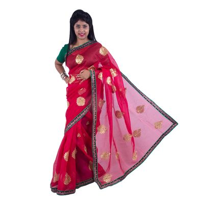 Red Printed Net Saree  with blouse By SHRE Sarees on Shimply.com