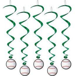 Hangdecoratie Whirls Honkbal -  Vijf hangdecoraties met een honkbal. Lengte: 100cm. Leuk voor een sport evenement of gewoon als decoratie in een kinder of tiener slaapkamer.   www.feestartikelen.nl