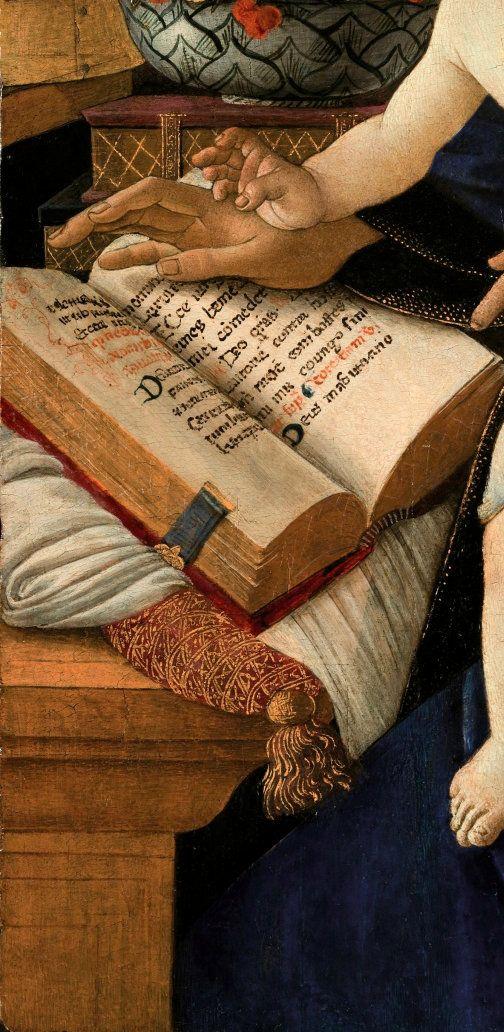 Sandro Botticelli ~ The Madonna of the Book (Madonna del Libro) (detail), c.1483 (Museo Poldi Pezzoli)