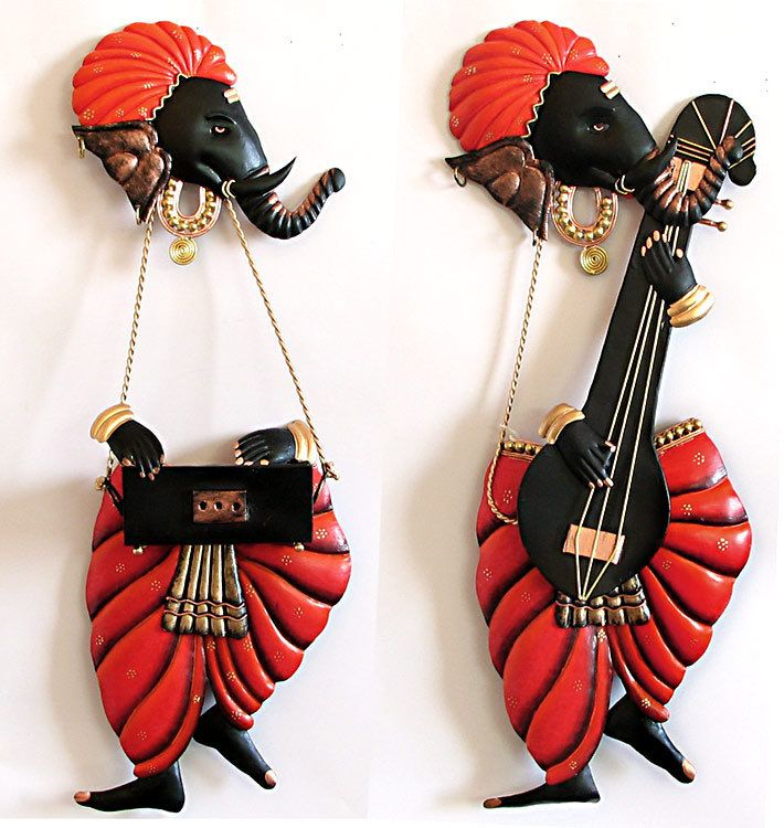 Musician Ganesha - Iron Craft Wall Hanging for Home Decor