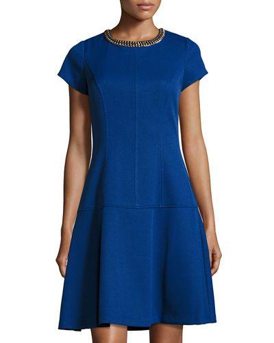 TDDC7 Ellen Tracy Short-Sleeve Embellished Fit & Flare Dress, Cobalt $60