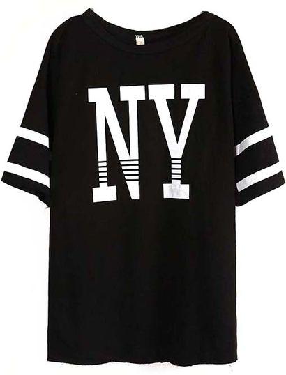 Czarny t-shirt z nadrukiem NY - Black Batwing Sleeve NY Print Loose T-Shirt