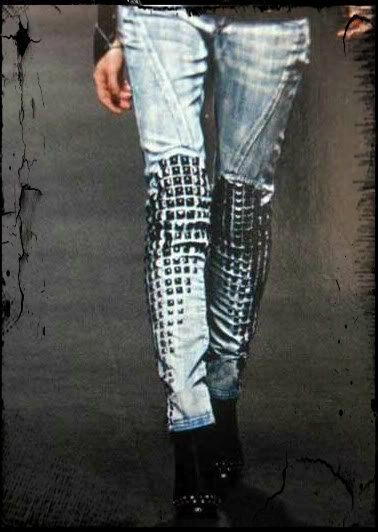 I bet you could also get this look by gluing old Computer Key-board Keys on to an old pair of jeans....