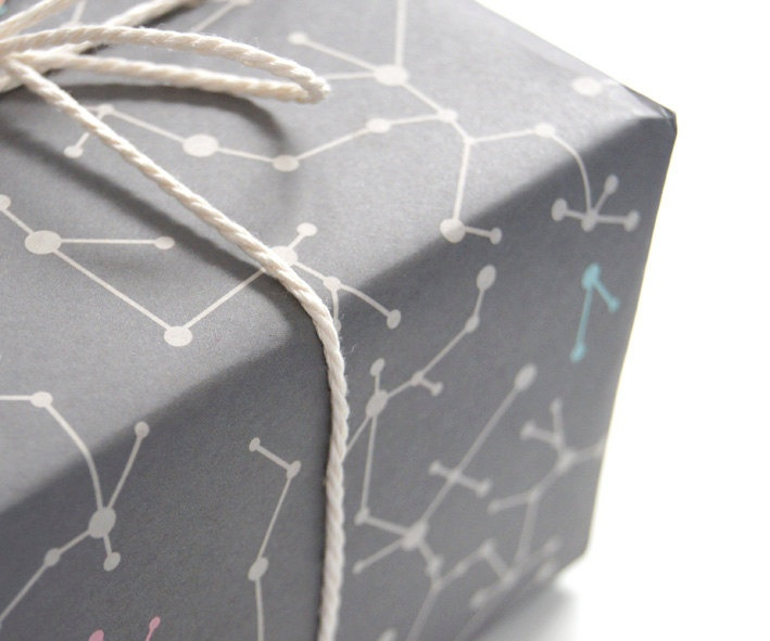 """""""Gray Molecules"""" Wrapping Paper"""