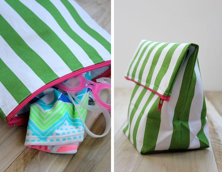 Simple tutorial for making a water repellent swimsuit bag! DIY-wet-swimsuit-bag on aliceandlois.com