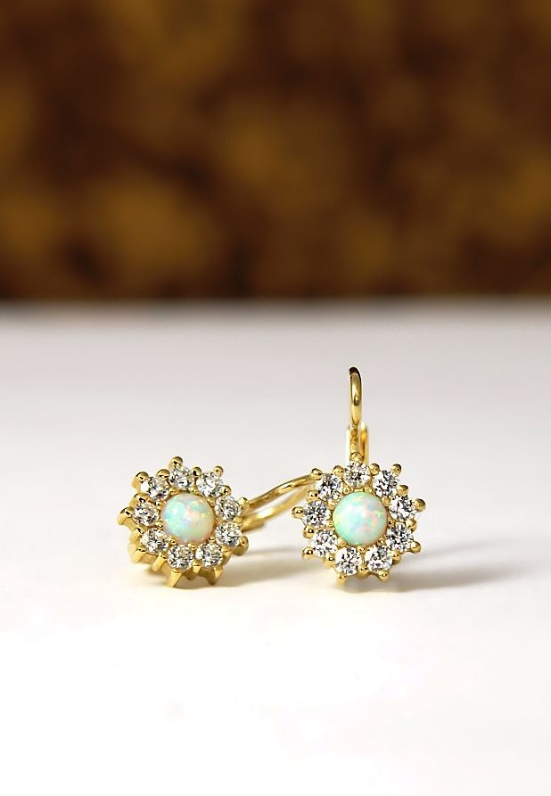 9dbfd0d9e dámské náušnice žluté zlato zirkony a opál Women's Earrings Yellow Gold  Zirconia and Opal