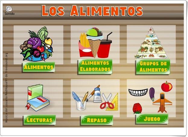 """""""Los alimentos"""", de Vedoque, es un conjunto de pequeños juegos que, tras una exposición inicial, afianzan el aprendizaje sobre los alimentos: su origen, proceso de elaboración, grupos de alimentos y comprobación de lo aprendido."""