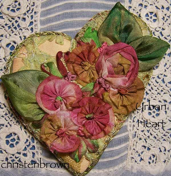 I ❤ ribbonwork . . . Scrumptious Heart- Bits & pieces of cherished lace are melded with silk fabric to form a beautiful heart shaped base. Silk ribbons for the ribbon work flowers and the dyed silk ribbon. embroidery.