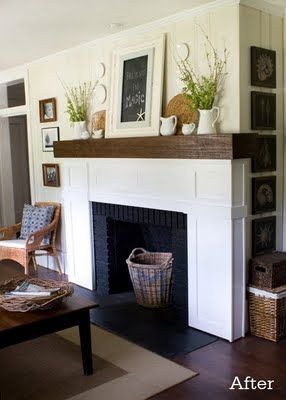board & batten fireplace with contrasting wood mantle.