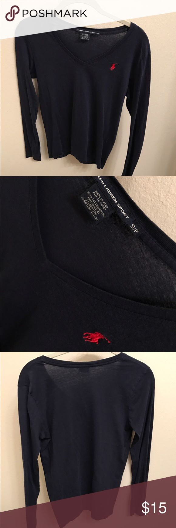 Polo Long Sleeve V Neck Tshirt navy blue long sleeve fitted tshirt! Polo by Ralph Lauren Tops Tees - Long Sleeve