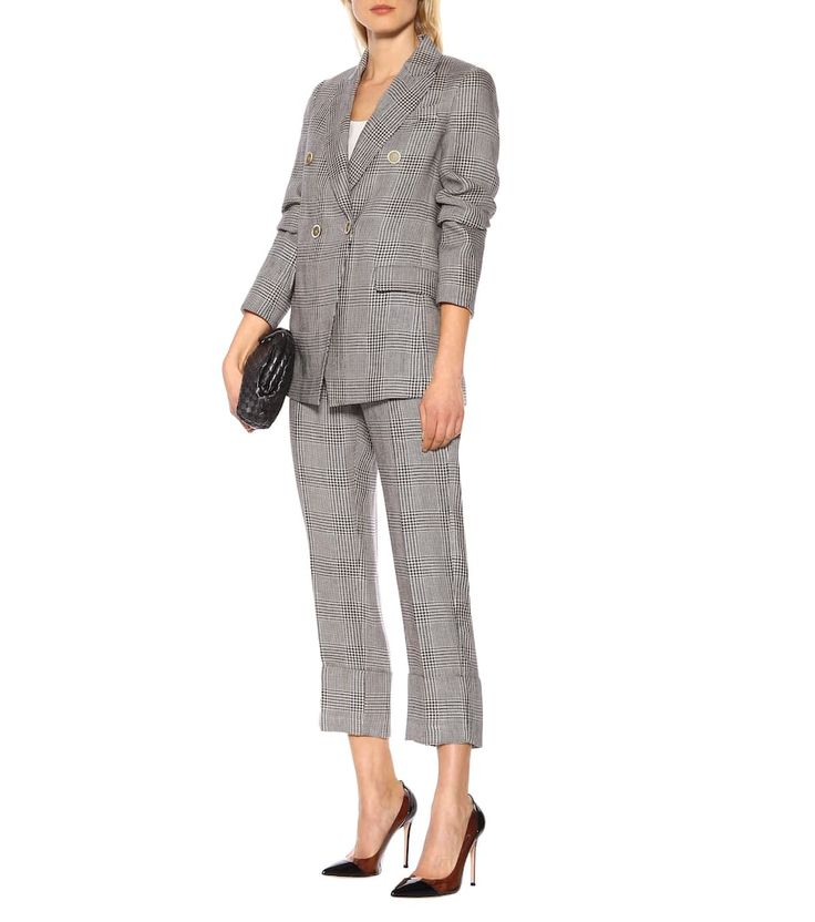 This elegant pair of cuffed pants from Brunello Cucinelli embody the Italian label's expert craftsmanship and timeless approach to design. The high-rise silhouette has been cut from textured linen in a beige and navy . Checked Blazer, Knit Blazer, Linen Blazer, Knit Jacket, Linen Pants, Tweed Jacket, Suede Pants, Cuffed Pants, Wool Pants