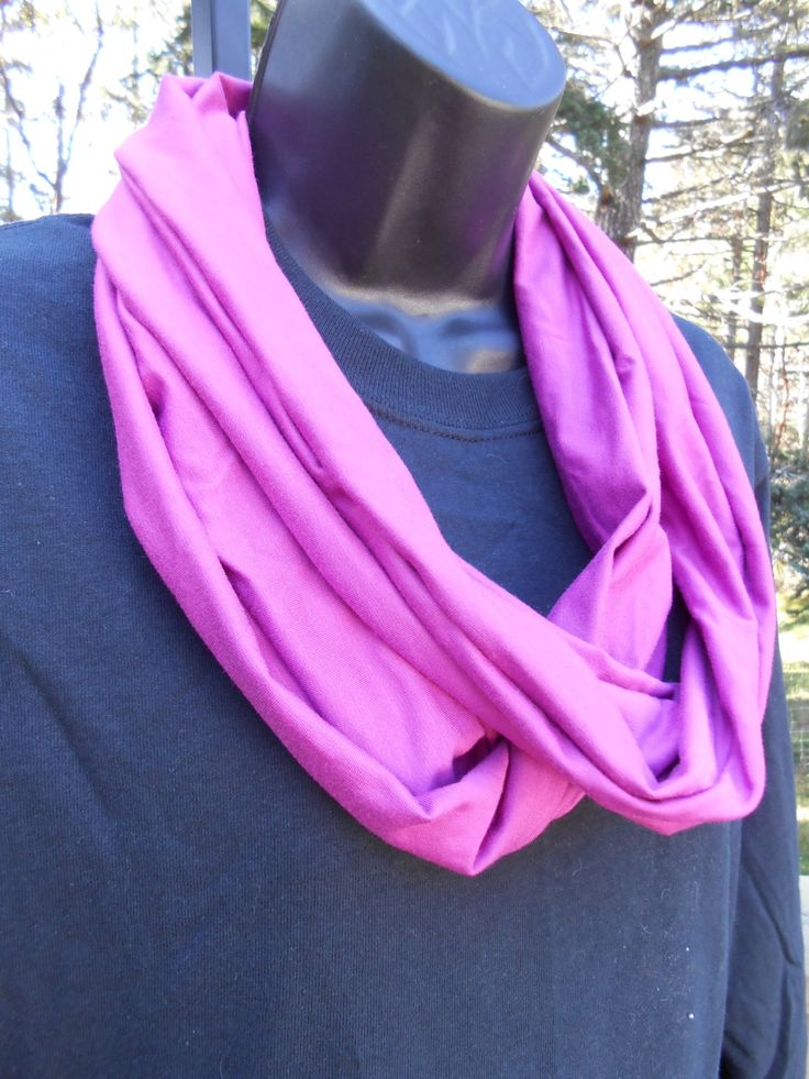 Fushia Bamboo Jersey Infinity Wrap Scarf Made in Victoria BC Canada.  Sweet Gift 4 Mom Sister BFF Aunt Grandma Friend.  Westcoast Handmade by TraceySewandSew on Etsy https://www.etsy.com/listing/185873336/fushia-bamboo-jersey-infinity-wrap-scarf