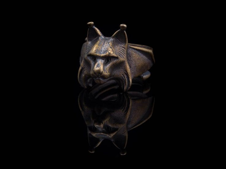 Lynx Head Ring brass handmade adjustable size от ArtifactoryStore