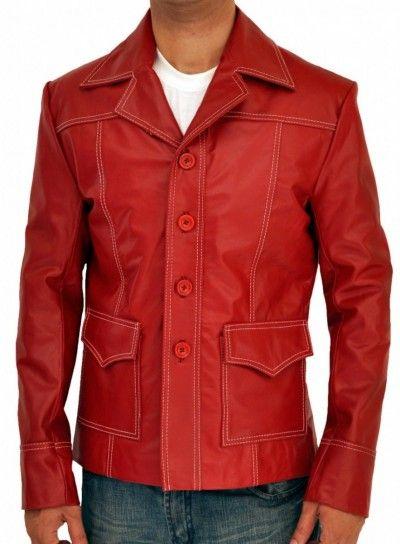 """€ 104.70  _ Setzen Sie den rote Lederjacke auf ein ganz neues Niveau """"Brad Pitt Fight Club Jacket"""" hat auf dem Display wurde unter der Sammlung von Brad Pitt Fight Club Lederjacke setzen, in dem Online-Shop von AngelJackets.de. #FightClub #BradPitt #FightClubJacket #BradPittJacket #FightClubLeatherJacket #Fashion #Shopping #Leather #WinterClothing #Jacket #Clothing"""