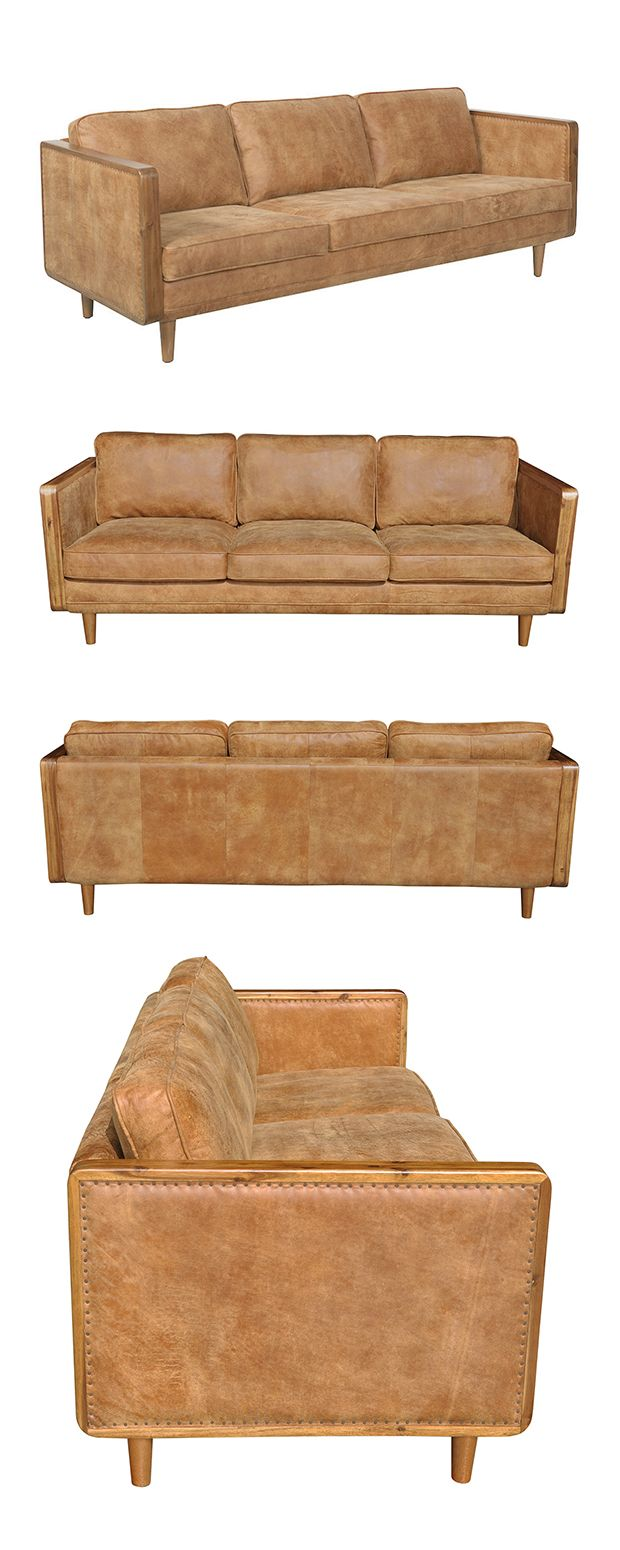 Covered in handsome, neutrally hued top grain leather upholstery, this Harrison Leather Sofa is a perfect accent for a chic transitional or Southwestern-inspired living space. With delicate solid walnu...  Find the Harrison Leather Sofa, as seen in the Sofas Collection at http://dotandbo.com/category/furniture/sofas-and-sectionals/sofas?utm_source=pinterest&utm_medium=organic&db_sku=118440