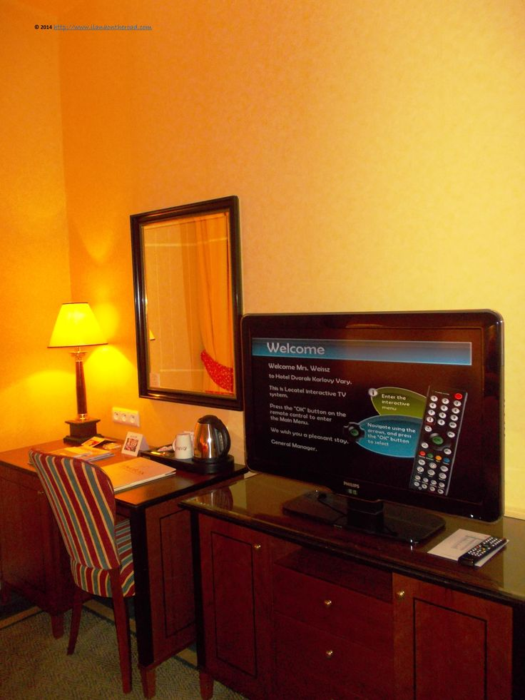 The personalized welcome every guest received upon arrival. At the desk, one can easily work while watching the latest news. All the main channels are offered, with many Russian channels as well.