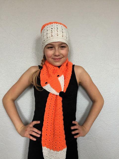 Liten Plutt - crochet fox scarf and hat