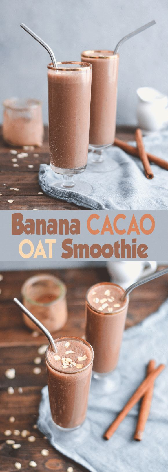 Whether you're looking for a quick breakfast or a filling afternoon snack, this Banana Cacao Oat Smoothie is the perfect healthy sip!