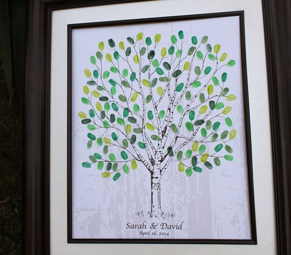 Personalized Wedding Guest Book Alternative Wedding TreeThumbprint Tree Wedding Tree Hand Drawn Wedding Birch Tree Wedding Keepsake 100-180 on Etsy, $40.00