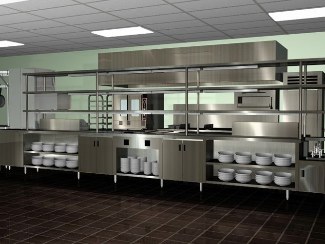 Amazing Modern Spacious Commercial Kitchen Design Chrome