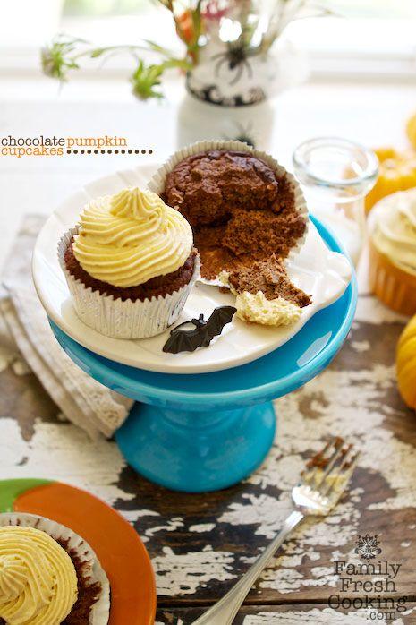 Chocolate Cupcakes with Pumpkin Whipped Cream recipe on FamilyFreshCooking.com © MarlaMeridith.com