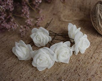 Ivory Rose Hair pins,Bridal Rose Hair Pins,Wedding hair pins,bridesmaids flower hair pins,Set Small Rose Hair pins,Woman girl Rose hair pin