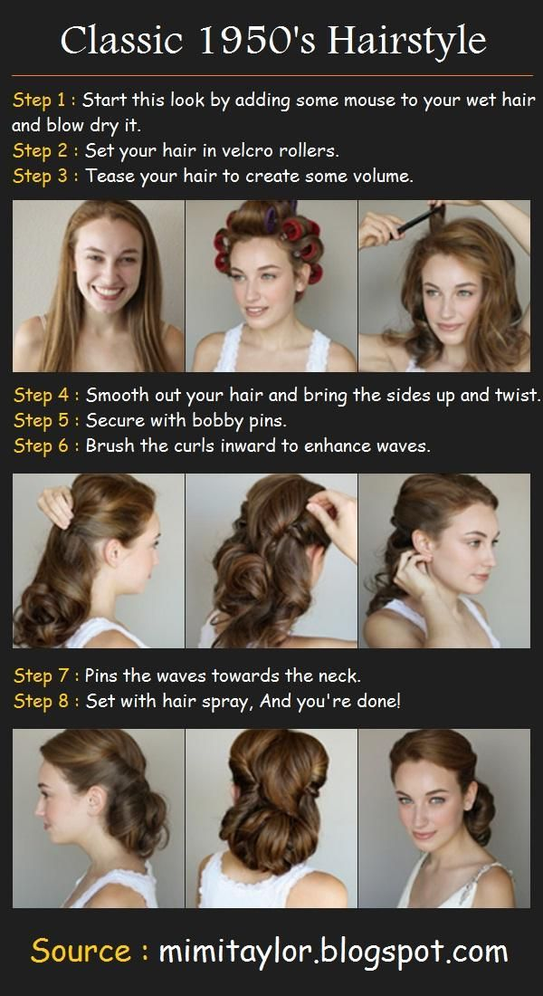 I love this 50's style pin-up hair! Looks simple enough.. May do the go-to-bed-with-wet-hair-in-a-ponytail routine for lift and hot rollers the next day for the waves. Faster and easier to get the same results...