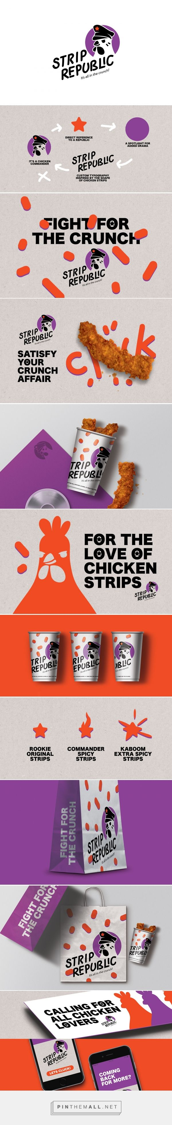 Art direction, branding and packaging for Strip Republic on Behance by Studio AIO Shuwaikh, Kuwait curated by Packaging Diva PD. Let's have some chicken for the packaging smile file : )