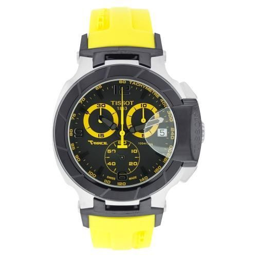 Tissot T-Race Swiss Chronograph Black and Yellow Dial Yellow Rubber Strap
