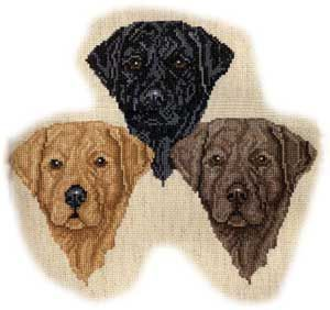 cross stitch labrador dogs | Black Lab Heads color coded for black, chocolate and yellow. Each is ...