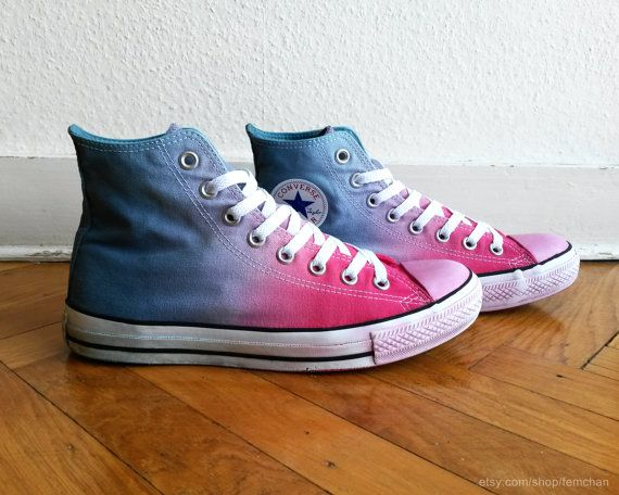 Hot pink  steel blue ombre Converse dip dye upcycled by Femchan, €44.35