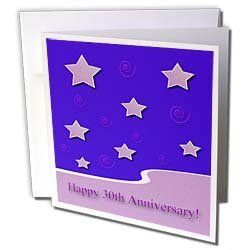 "Beverly Turner Employee Anniversary - Happy 30th Anniversary, Lavender Stars on Purple Employee Anniversary - Greeting Cards-6 Greeting Cards with envelopes by Beverly Turner Photography. $10.49. Happy 30th Anniversary, Lavender Stars on Purple Employee Anniversary Greeting Card is a great way to say ""thank you"" or to acknowledge any occasion. These blank cards are made of heavy duty card stock with a gloss exterior and a matte interior for smudge free writing...."