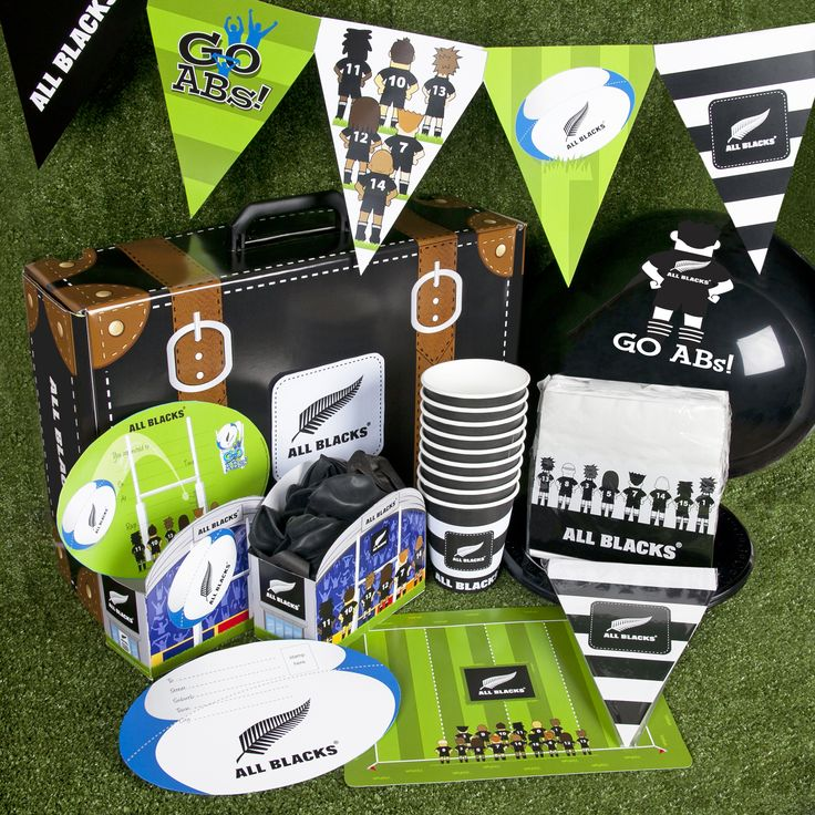 Here's some of our All Blacks Rugby themed party supplies
