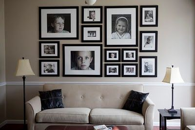 Photo Wall Collage Arrangement - now that we painted our wall & took down the photo wall, I want a new arrangement, I am liking this one!