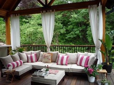 I hang outdoor drapes and love the lovely effect!