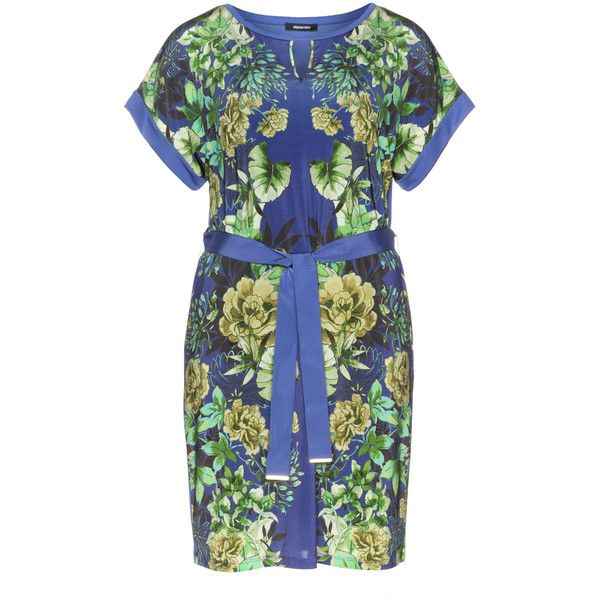 Elena Miro Blue / Purple Plus Size Belted floral dress (£170) ❤ liked on Polyvore featuring dresses, blue, plus size, womens plus size summer dresses, plus size blue dress, plus size summer dresses, plus size floral dresses and women plus size dresses