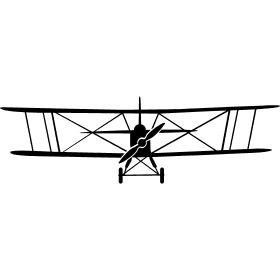 Doppeldecker Flugzeug - Ein Doppeldecker Flugzeug von vorne mit seinen typischen zwei parallelen Tragflächen.