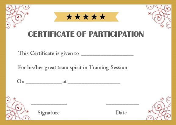 Training Participation Certificate Template  Certificate Of Participation Template
