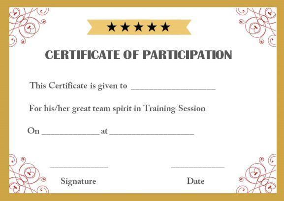 Training Participation Certificate Template Certificate Of Participation Template Participation Certificate Templates