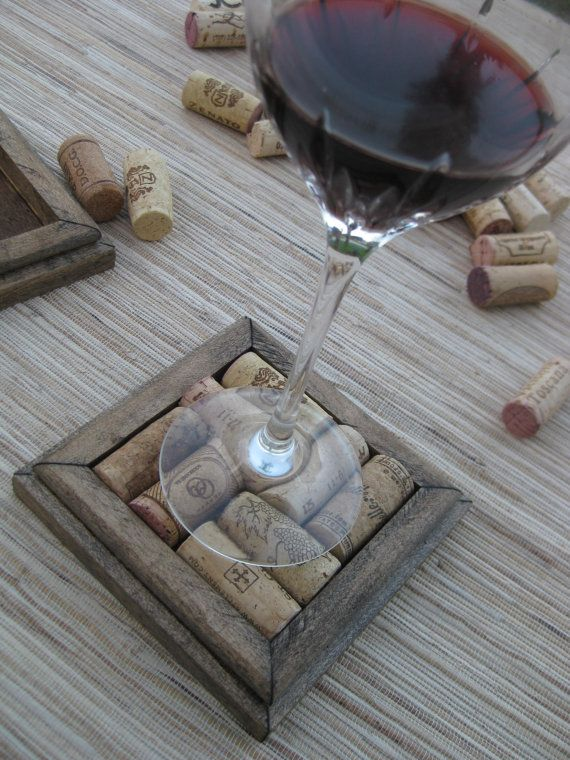 Wine Cork Coasters DIY set of 2  dark brown on reclaimed wood by TheWoodenBee, $10.00