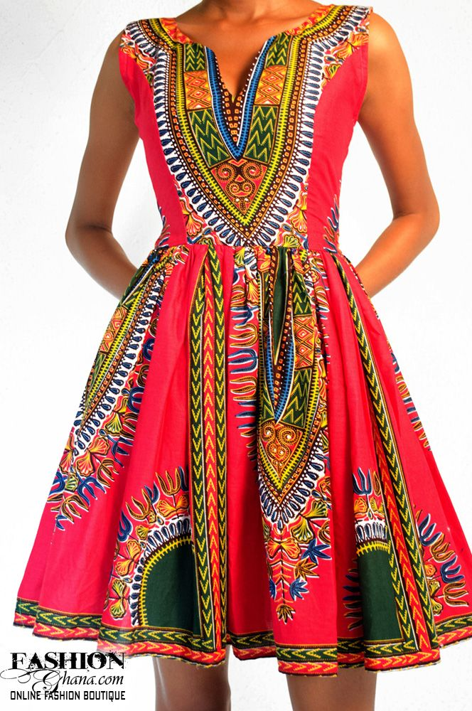 Angelina Print / Dashiki Skater Dress (Various Colors) | FashionGHANA.com: 100% African Fashion