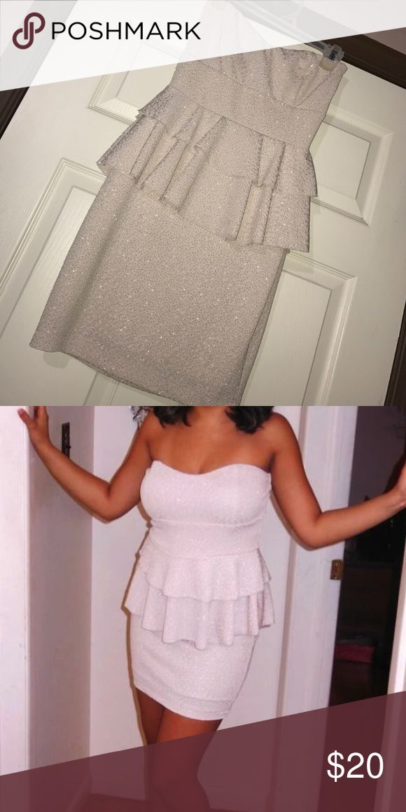 Off White Peplum Dress with glitter A soft off white dress with a cute peplum flare & some shimmer to shine! WINDSOR Dresses Mini