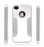 Premium Chrome Aluminum Skin Hard Back Case Cover for Apple iPhone 4 4G 4S Silver