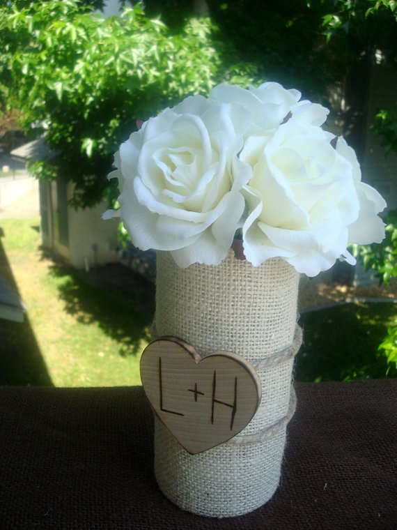 burlap vases! can wrap burlap around tin can or any glass vase...