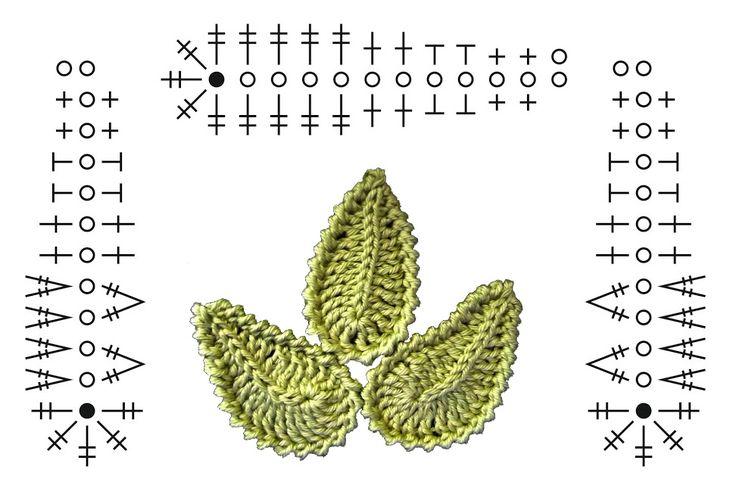 Crochet leaf chart.