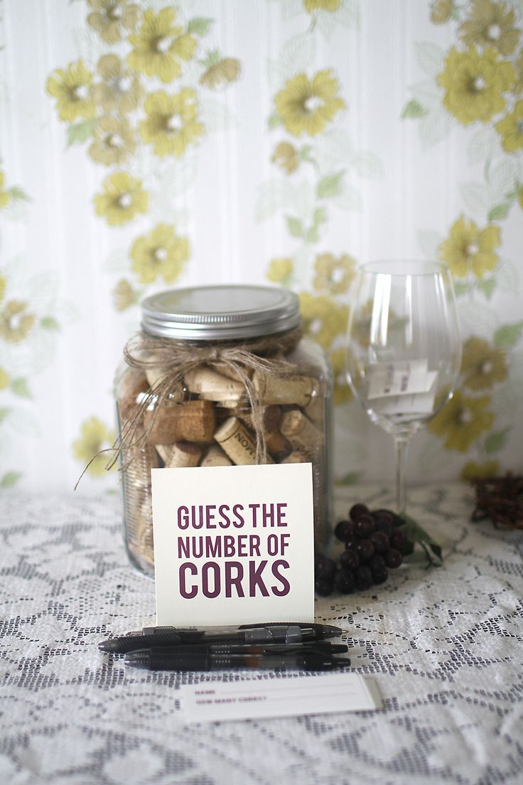 Great idea. Guess how many corks are in the jar & whoever is close to the number gets a bottle of wine?