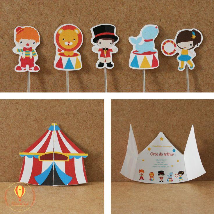 Convite circo. Topper recortado