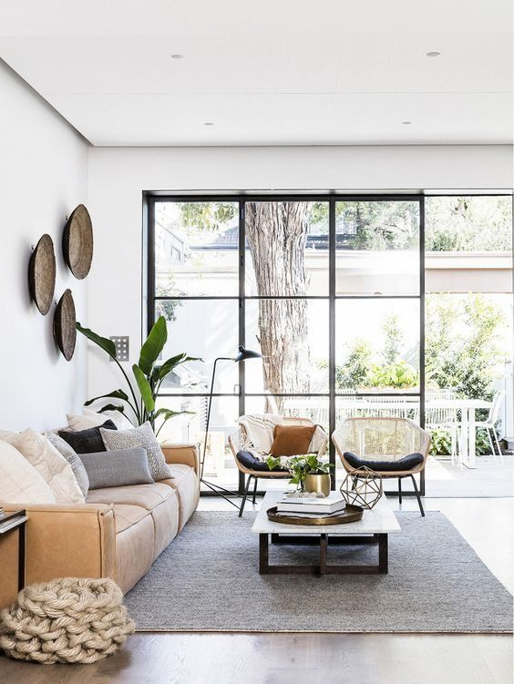 Gorgeous living room with huge wall of windows