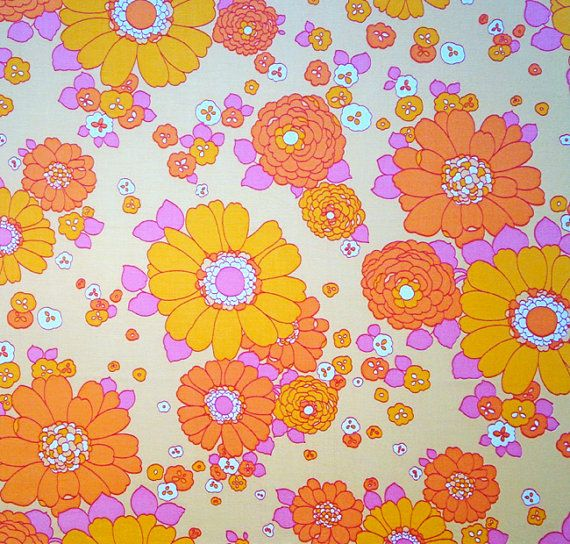 retro vintage 70s fabric by vintage4kids on Etsy