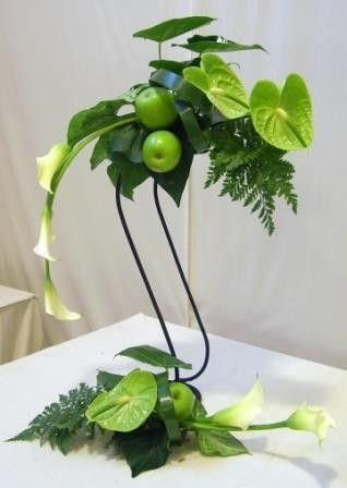 Stunning Green Anthuriums designed with elegant Cream Calla Lillies | idea for umbrella style arrangement